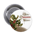 Holly in Wicker Basket Vintage Christmas 6 Cm Round Badge