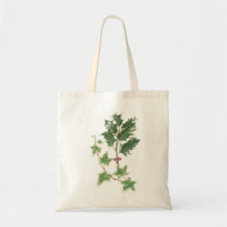Holly & Ivy Sprig Botanical Watercolour Tote Bag