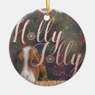 Holly Jolly Basset Hound Ornament