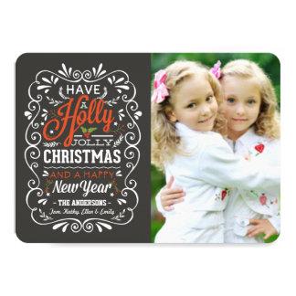 Holly Jolly Chalk Art Christmas Photo Card 11 Cm X 16 Cm Invitation Card