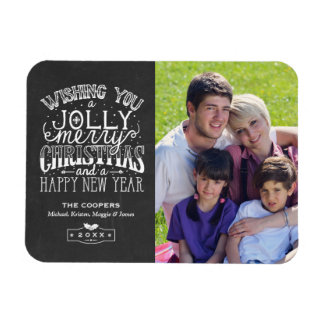 Holly Jolly Chalkboard Typography Christmas Photo Rectangular Photo Magnet