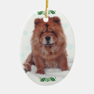 Holly Jolly Chow Christmas Ceramic Oval Decoration