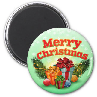 Holly Jolly Christmas 6 Cm Round Magnet