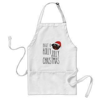 Holly Jolly Christmas Black Santa Pug Standard Apron
