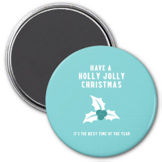 Holly Jolly Christmas | Blue 7.5 Cm Round Magnet