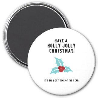 Holly Jolly Christmas | Blue Design 7.5 Cm Round Magnet