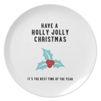 Holly Jolly Christmas | Blue Design Dinner Plates