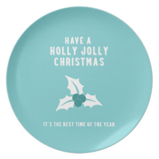 Holly Jolly Christmas | Blue Party Plates