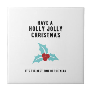 Holly Jolly Christmas | Blue Small Square Tile