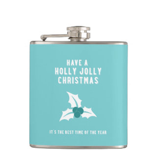 Holly Jolly Christmas | Blue Solid Hip Flask