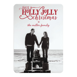 "Holly Jolly Christmas Card - 5"" x 7"" with envelope"