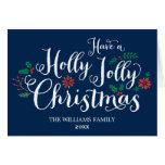 Holly Jolly Christmas Card   Navy Blue