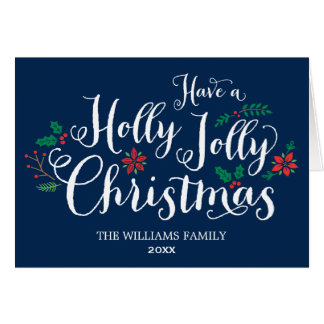 Holly Jolly Christmas Card | Navy Blue