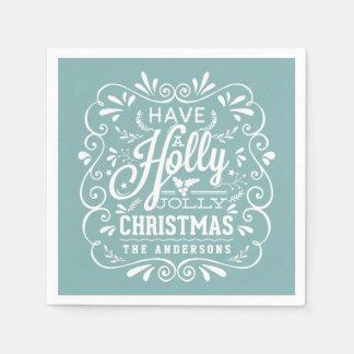 Holly Jolly Christmas Chalk Art Blue Paper Napkins