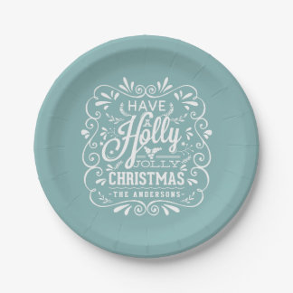 Holly Jolly Christmas Chalk Art Holiday Blue Party 7 Inch Paper Plate