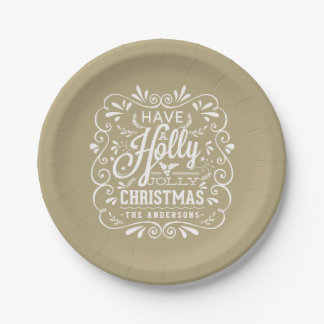 Holly Jolly Christmas Chalk Art Holiday Party 7 Inch Paper Plate
