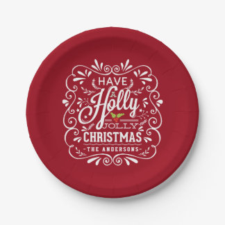 Holly Jolly Christmas Chalk Art Holiday Red Party Paper Plate