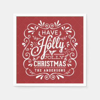 Holly Jolly Christmas Chalk Art Red Paper Napkins