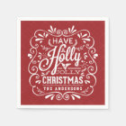 Holly Jolly Christmas Chalk Art Red Paper Napkins Disposable Napkin