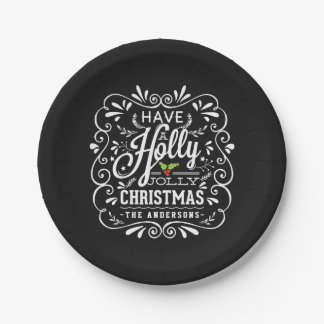 Holly Jolly Christmas Chalkboard Holiday Party Paper Plate