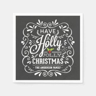 Holly Jolly Christmas Chalkboard Paper Napkins