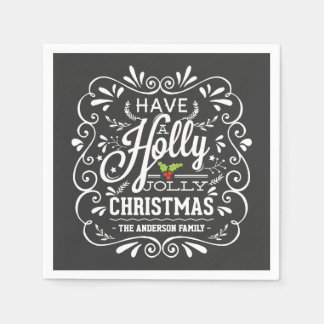 Holly Jolly Christmas Chalkboard Paper Napkins Disposable Serviette