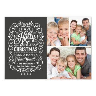 Holly Jolly Christmas Chalkboard Photo Collage 11 Cm X 16 Cm Invitation Card
