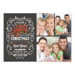 Holly Jolly Christmas Chalkboard Photo Collage 13 Cm X 18 Cm Invitation Card