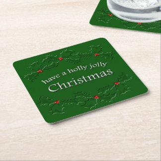 Holly Jolly Christmas Coaster Square Paper Coaster