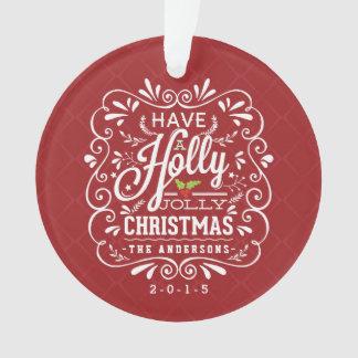 Holly Jolly Christmas Fancy Chalkboard Photo Ornament
