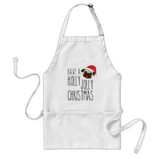 Holly Jolly Christmas Fawn Santa Pug Standard Apron