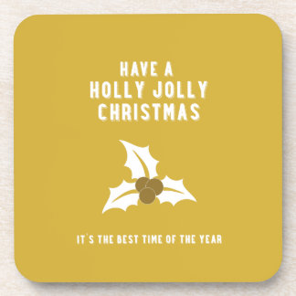 Holly Jolly Christmas | Gold Solid Coaster