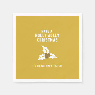 Holly Jolly Christmas | Gold Solid Disposable Serviettes