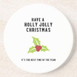 Holly Jolly Christmas | Green Design Drink Coaster