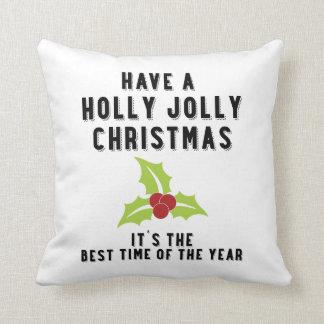 Holly Jolly Christmas   Green Holly Throw Cushion