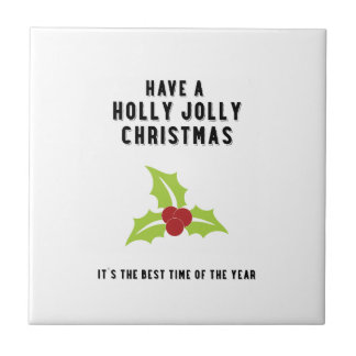 Holly Jolly Christmas | Green Small Square Tile