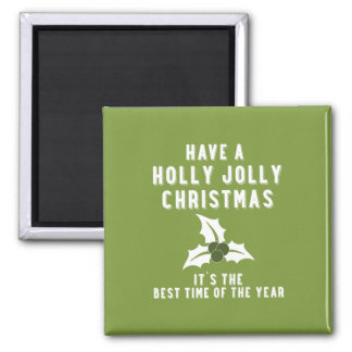 Holly Jolly Christmas | Green Solid Square Magnet