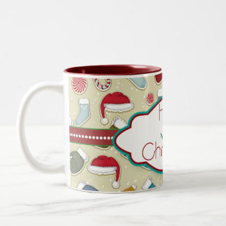 Holly Jolly Christmas hats&socks mug - red inside