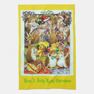 Holly Jolly Christmas Hedgehogs Tea Towel