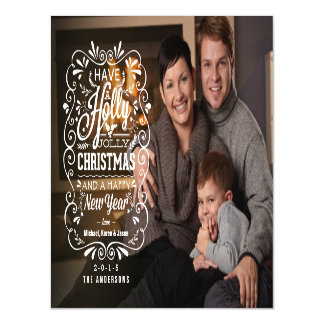 Holly Jolly Christmas Holiday Chalk Art Full Bleed Magnetic Invitations