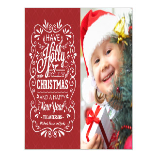 Holly Jolly Christmas Holiday Chalk Art Photo Magnetic Invitations