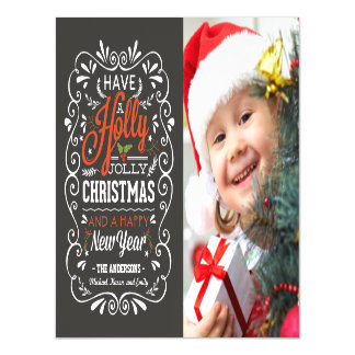 Holly Jolly Christmas Holiday Chalkboard Photo Magnetic Invitations