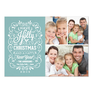 Holly Jolly Christmas Holiday Photo Collage - Blue 13 Cm X 18 Cm Invitation Card