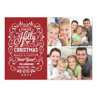 Holly Jolly Christmas Holiday Photo Collage Card 13 Cm X 18 Cm Invitation Card