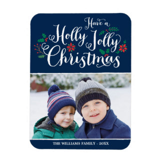 Holly Jolly Christmas | Holiday Photo Rectangular Photo Magnet