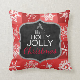 Holly Jolly Christmas Holiday Snowflakes Chalk Red Cushion