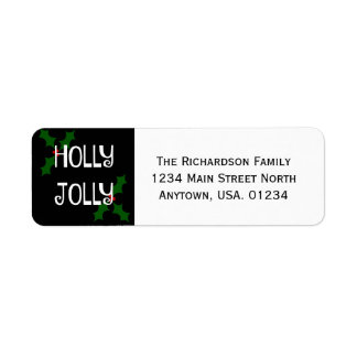 Holly Jolly Christmas Holly Return Address Label