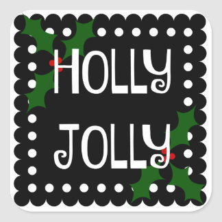 Holly Jolly Christmas Holly Square Sticker