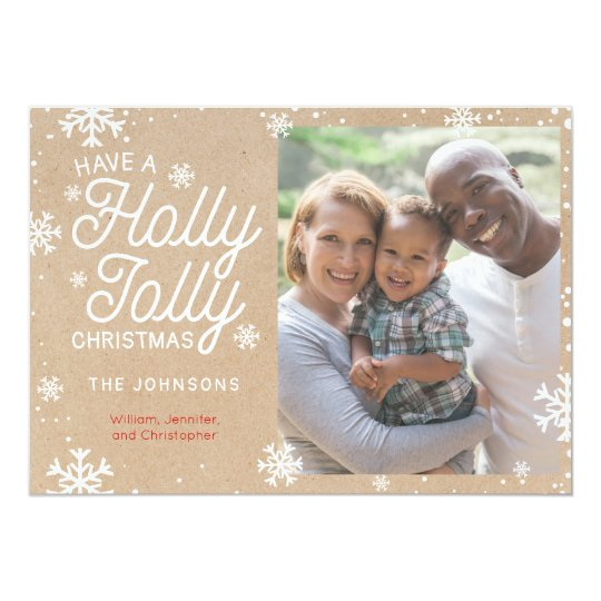 Holly Jolly Christmas Kraft Paper Snowflake Card