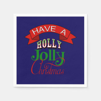 Holly Jolly Christmas Napkin Disposable Serviettes